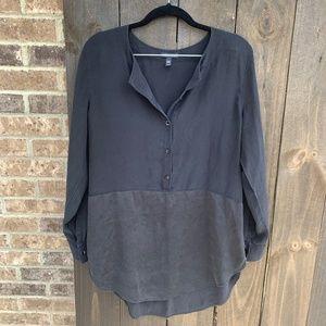 Eileen Fisher Half Button Black Silk Tunic Medium